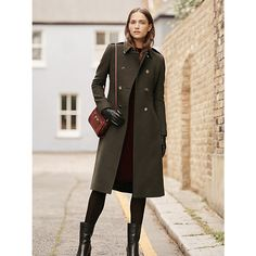A military inspired look with structured shape, metal hardware and leather finishing touches. Utility inspired design accents are set to continue as a key trend this season and the Marietta Military Coat from Hobbs encompasses this look effortlessly.