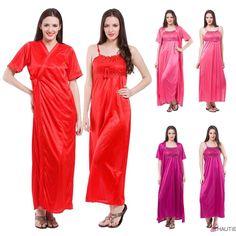 Sexy satin long chemise night dress nightdress nightie slip robe gown 7dde8cc5c