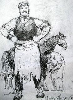 The Blacksmith, Higher Brixham by artist Peter Archer. Archer, Blacksmithing, Cow, Saints, Mary, Artist, Sterling Archer, Blacksmith Shop, Artists