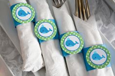 Whale Birthday Party - Napkin Rings - Silverware Wraps - Preppy Ocean Theme Party Decorations & Baby Shower Theme in Blue and Green (12)