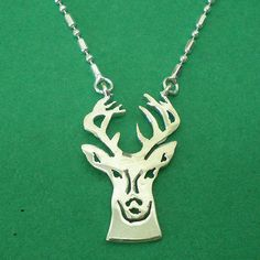 Adorable Deer Head Silver Pendant Charm Necklace by yhtanaff, $22.00
