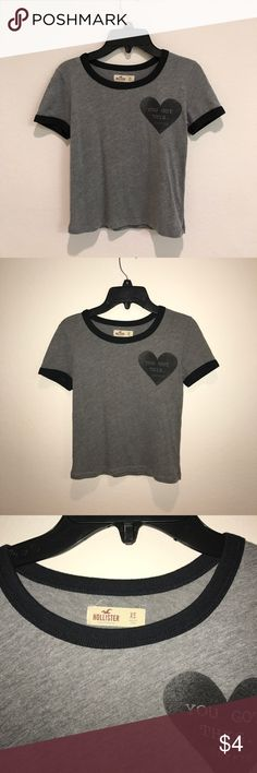 "Hollister crop top grey ""you got this- coffee"" hollister crop top Hollister Tops Crop Tops"