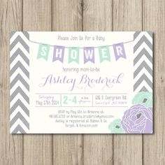 Hey, I found this really awesome Etsy listing at https://www.etsy.com/listing/181673688/purple-baby-shower-invitation-chevron