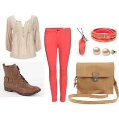 """School outfit "" on Polyvore.Kind of cute I just don't like the boots"
