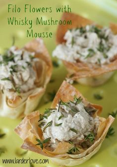 Add a touch of Scottish style to your New Year party with these Filo Flowers with Whisky Mushroom Mousse, the perfect vegetarian party nibble.