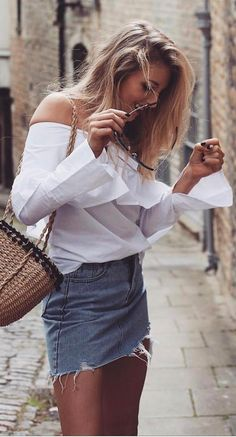 summer outfit blouse + denim skirt