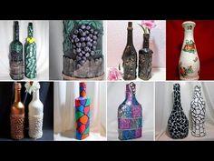 53 Ideas crochet decoracion botellas for 2019 Crafts With Glass Jars, Glass Bottle Crafts, Diy Bottle, Jar Crafts, Bottle Art, Diy And Crafts, Gift Crafts, Plastic Bottle, Painting Glass Jars