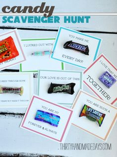 Use leftover Halloween candy to create this fun scavenger hunt for your loved one (school lunches!).  Printable included from .