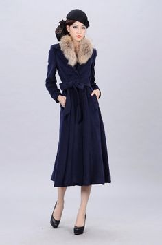 Women's Navy Blue Long Cashmere Trench Coat Outerwear by Franris, $239.00