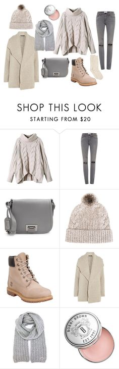 """""""Films 2"""" by julia-sidorenko on Polyvore featuring Frame Denim, Badgley Mischka, N.Peal, Timberland, James Perse, Moncler, Bobbi Brown Cosmetics and Hue"""