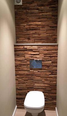 Wandbekleding stabigo van sanitairsupershop Condo Interior Design, Bathroom Design Luxury, Bathroom Design Small, Wood Panel Walls, Wood Paneling, Wood Wall, Wc Design, House Design, Wall Cladding Tiles