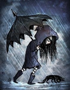Goth girl in the rain with cat. I love this for some reason! lol!