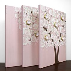Baby Girl Nursery Wall Art  Large Tree Painting  por Amborela, $172.00 Would be cute to make with buttons and finger prints too!