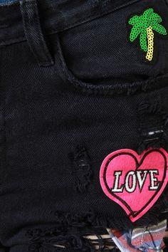 Love Patch Distressed Denim Shorts
