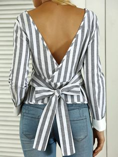 Cute! Blue and White Striped Open Back Bowknot Blouse #Cute #Bowknot tops.