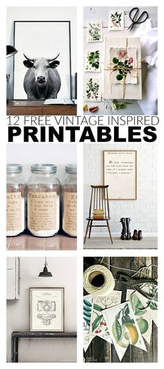 12 free and fabulous printables perfect for adding a touch of vintage to your home decor. #printables #freeart #printable