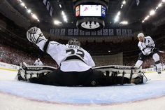 NEWARK, NJ - MAY 30: Jonathan Quick #32 of the Los Angeles Kings makes a save during the first period against the New Jersey Devils during Game One of the 2012 NHL Stanley Cup Final at the Prudential Center on May 30, 2012 in Newark, New Jersey. (Photo by Bruce Bennett/Getty Images)