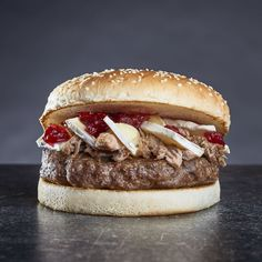 New Special! Beef burger with camembert, pulled duck and cranberry chutney