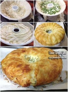 ✿ ❤ ♨ Kek Kalıbında Peynirli Börek Tarifi / Malzemeler: 5 adet yufka. Sosu İçin: 2 adet yumurta, 1 çay bardağı sıvı yağı, 1 şişe maden suyu veya soda, Peynir ve maydanoz karışımı.