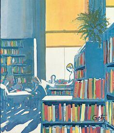 Light summer in the library / Luz de verano en la biblioteca (ilustración de Arthur Getz)