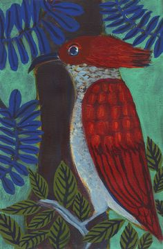 Pic-rouge - red woodpecker - original painting de la boutique ValerieBelmokhtarArt sur Etsy