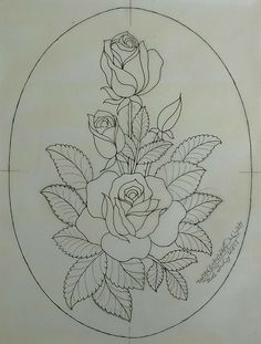 Painting Patterns, Fabric Painting, Flower Art Drawing, Hand Embroidery Design Patterns, Fabric Paint Designs, Rose Embroidery, Art Drawings Sketches, Tattoos, Folk Art Flowers