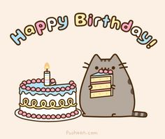 """This adorable card is the perfect way to say """"Happy Birthday"""" to fans of Pusheen! Card measures x Inside card is blank. Content: Single Card option includes 1 card and 1 Pusheen envelope. option includes 5 cards and 5 Pusheen envelopes. Pusheen Happy Birthday, Cat Birthday Memes, Happy Birthday Fun, Happy Birthday Images, Birthday Quotes, Birthday Gifs, Birthday Cake, Happy Brithday, Birthday Cartoon"""