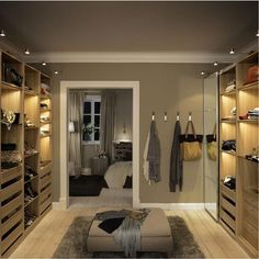 Take out walls and make dressing room with IKEA PAX - Home decor and design Walk In Closet Ikea, Walk In Closet Design, Closet Designs, Closet Bedroom, Closet Doors, Pax Closet, Attic Closet, Dressing Room Design, Dressing Rooms
