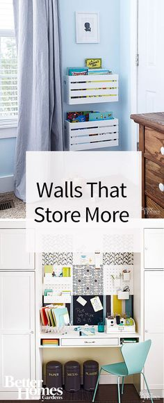 Maximize your storage space by using your walls! Whether hanging pots and pans, displaying books and décor on custom-designed shelves, or installing cabinets to fit the needs of each room, walls can be useful for more than just division of space. Check out these great ideas for inspiration, and then create more storage space in your own home!