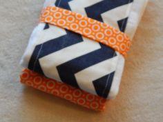 Chevron Navy Blue and Orange Baby Burp Rag by luvstobecreative, $10.95