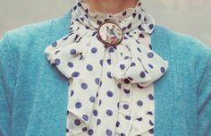 polka-dot tie blouse