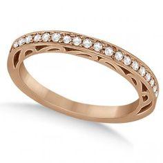 Carved Semi-Eternity Diamond Wedding Ring 14K Rose Gold (0.22ct) - Allurez.com