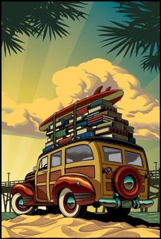 Vacation: Surfing with the books /Vacaciones: surfeando entre libros (ilustración de Chris Gall) Two things I have always wanted , a woody wagon and a library. Scratchboard, Arte Pop, Vintage Travel Posters, Illustrators, Book Art, Illustration Art, Artist, Cars, Surfboards