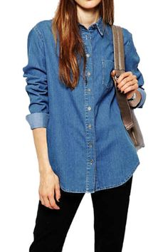 Asymmetric Blue Denim Shirt - Fashion Clothing, Latest Street Fashion At Abaday.com