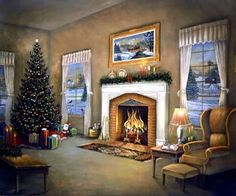 Home For Christmas ~ by Judy Gibson Christmas Artwork, Christmas Room, Merry Christmas To All, Christmas Scenes, Christmas 2019, Vintage Christmas Images, Christmas Pictures, Retro Images, Old Fashioned Christmas