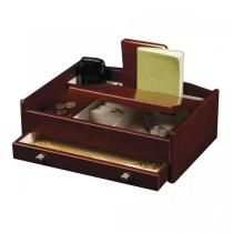 Wooden Dresser Top Valet Tray, Catch All w/ Burlwood Walnut Finish
