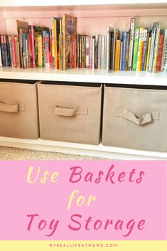 Organizing with Baskets - Ideas on how to use baskets for storage and organizing #organize #DIY #storage #toystorage #shoestorage #organizinghacks #kitchenstorage #howtoorganize #baskets