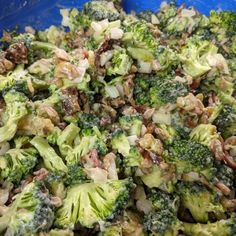 My family loves this salad. It's a great side dish for almost any meal. One of my go to salads to take to BBQ's and outings in the summer. It is very similar to the Broccoli salad served at the Walmart deli counter, but you control what goes into it. Baked Bacon Recipe, Oven Baked Bacon, Bacon Recipes, Salad Recipes, Cooking Recipes, Healthy Recipes, Healthy Salads, Healthy Food, Healthy Eating