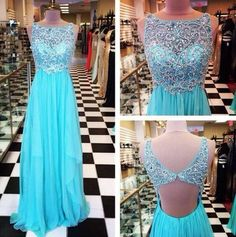 High Quality A-LINE Chiffon Beading Eveing Dresses Backless BLUE PROM DRESS LONG DRESSES PARTY DRESSES