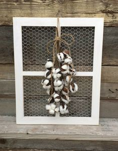 "Cute medium sized Chicken Wire Window Frame. Great size of 20"" x 16"" and would look great with any Farmhouse - rustic home decor! Love this! #farmhousedecor #walldecor #rusticdecor #homedecor #ad"