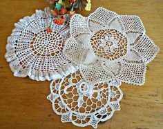3 Doilies Doily Crocheted Doily Ecru Vintage Doilies  B213 by treasurecoveally on Etsy
