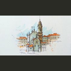 A recent video posted on YouTube. Another inspiring Cathedral in the beautiful old city of Porto, Portugal. Link to my YouTube Channel is in my bio or Cut and Paste:  https://m.youtube.com/c/petersheelerart  #Video #youtube #youtubers #landscape #art #original #watercolor #winsorandnewton #watercolour #painting #paintingaday #penandink  #architecture #ink #moleskine_arts  #Porto #portugal #chapel #church