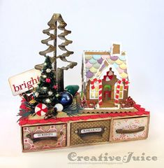 Lisa Hoel - Tim Holtz Sizzix Village Dwelling Christmas gingerbread house with a platform created with Eileen Hull's Candy Drawer die  #timholtz #sizzix #eileenhull