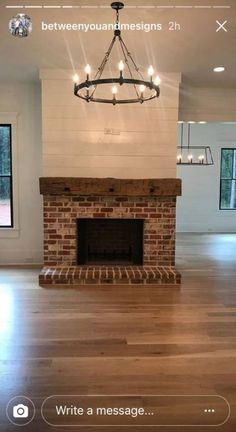Best Photographs Brick Fireplace mantle Suggestions It often will pay to be able to neglect the actual upgrade! As an alternative to pulling out the dated brick fireplace , Brick Fireplace Makeover, Shiplap Fireplace, Farmhouse Fireplace, Home Fireplace, Living Room With Fireplace, Fireplace Design, Home Living Room, Apartment Living, Fireplace Ideas