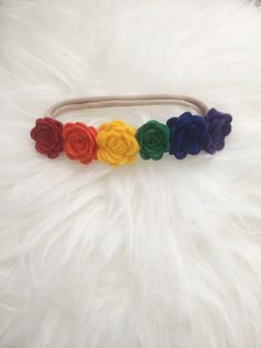 rainbow baby/nylon headbands/baby headbands/nylon baby headband/infant headband/newborn headband http://www.sugarspicebows.com/