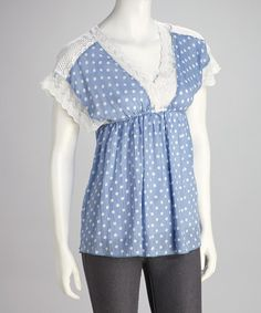 Take a look at this Blue Polka Dot Lace Top by Funky People on #zulily today!
