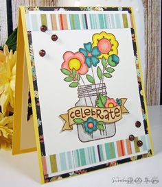 Flower Bouquet card created with Paper Smooches Best Buds clear stamp set! Secretbees Studio: Hannah's Flowers!