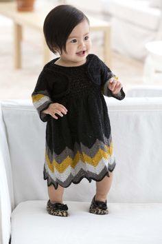 Free Knitting Pattern: Party Dress And Shrug. Lion Brand® Vanna's Glamour® Pattern #: L10684