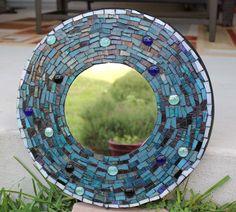Round Blue Mosaic Mirror by iguanamom on Etsy, $35.00