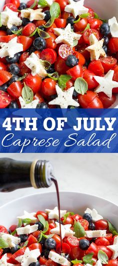 of July Caprese Salad. An easy and unexpected caprese salad recipe that is perfect for the of July or any patriotic American holiday. Blueberries are a fun twist on the classic recipe. recipes of july Blueberry Tomato Caprese Caprese Salat, Tomato Caprese, Caprese Salad Recipe, Salad Recipes, Broccoli Recipes, Tomato Salad, 4th Of July Desserts, Fourth Of July Food, 4th Of July Celebration